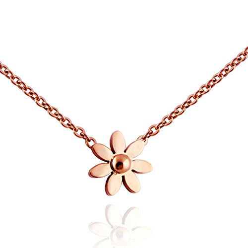Womens Fashion Stainless Steel 18K Rose Gold Plated Daisy Flower Pendant Necklace -