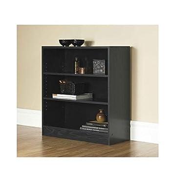 Mylex Mainstays 3 Shelf Bookcase Wide Bookshelf Storage Wood Furniture Black 1
