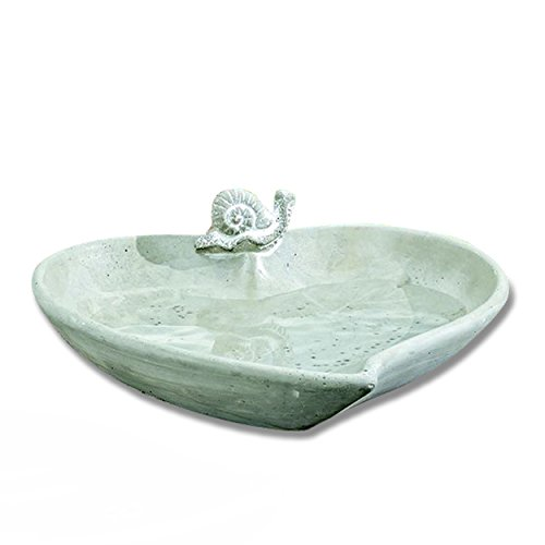 WHW Whole House Worlds Bird Lovers Heart Shaped Basin with Snail Figurine, Gray Finished Cast Stone, 10 1/4 Inches with a 3 Inch Profile