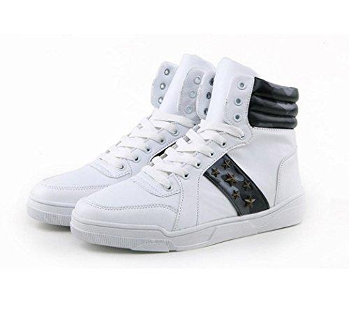 WZG de alta para ayudar a los zapatos de camuflaje estudiantes casual zapatos deportivos hombres de los zapatos de hombre zapatos zapatos de encaje transpirable White