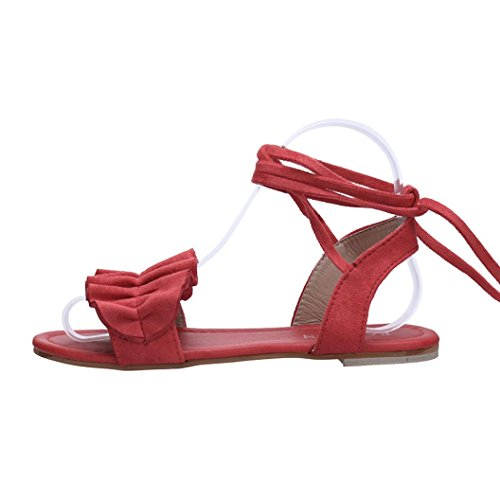 Color Ruffles Round Solid Tied Cross Women Flat Rome Red Muium Ladies Shoes Toe Heel Sandals Fashion wq4tfg