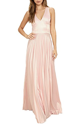 Absolute Rosy Women's V-neck Accordion Pleated Skirt Satin Prom Evening Dress Pink S