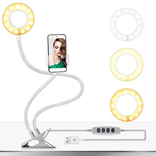 Selfie Ring Light with Cell Phone Holder, ASHANKS LED Camera Light with Clip Lazy Bracket for iPhone/Android,3 Light Mode,10-Level Brightness,Desk Lamp with Stand for Live Stream/Makeup(White) by ASHANKS