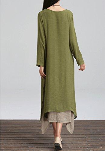 YiLianDa Damen Beiläufige Lose Kleid Fest Langarm Boho Lang Maxi Kleid Grün 4nTMohKU