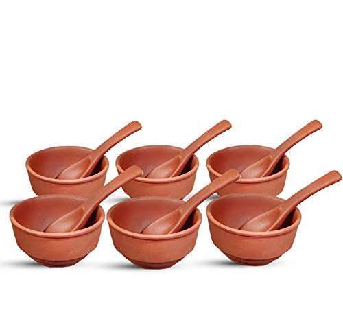 Terracotta [Clay] [Earthenware] 6PCS Set of Size 250ml Soup Bowl with Attractive 6pcs Spoon.Color Brown