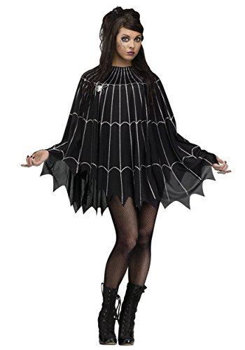 Fun World Women's Spider Web Poncho Costume, Multi, ()
