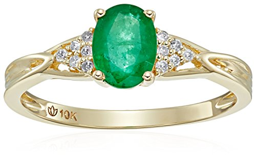 10k Yellow Gold Genuine Emerald and Diamond Accented Classic Solitaire Engagement Ring, Size 7