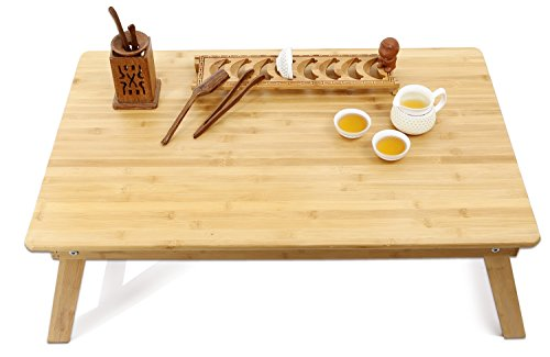 Large Size Bed Table Tray Laptop Desk Foldable Coffee Table,TV Desk  Breakfast Serving Tray for Balcony Garden Outdoor 100% Bamboo made, 31.5x19.3inch