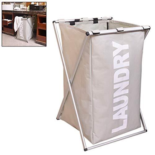 Blacgic Single Aluminum X-Frame Folding Laundry Clothes Hamper Sorter Washing Storage Bag Satin Silver Frame (Butterfly Single Bed Frame With Storage White)
