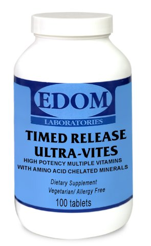 Ultra Vites Timed Release - Vegetarian - Allergy Free -Gluten Free - Multivitamin with Minerals - 50 Tablets - One A Day