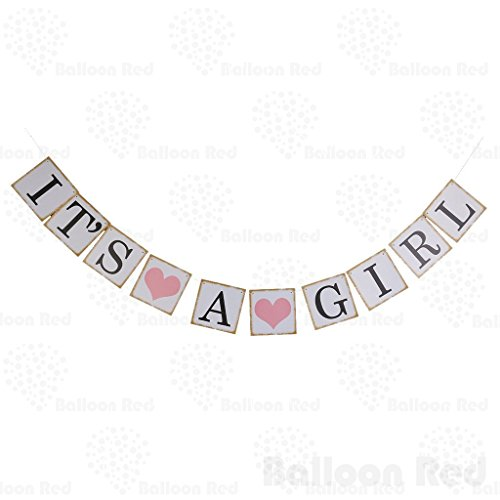 Homemade Disco Girl Costumes (IT IS A GIRL LOVE HEART Paper Party Decoration Bunting Garland Banner)