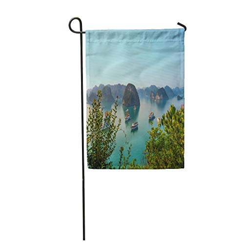 Semtomn Garden Flag 12x18 Inches Print On Two Side Polyester View Over Famous Ha Long Bay Viewpoint Halong Iconic Limestone Home Yard Farm Fade Resistant Outdoor House Decor Flag -