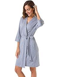 Womens Cotton Robe Soft Kimono Robes Knit Bathrobe Loungewear Sleepwear Short
