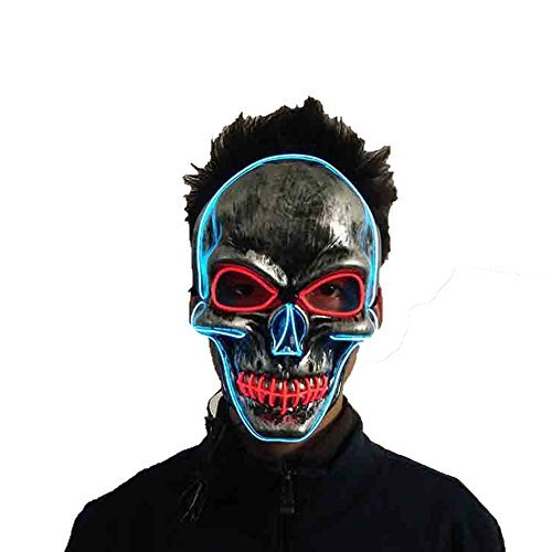 Latburg Led Mask Purge Halloween Light Up Costumes Glow Stick Party City Mask for Parties Festival Costume (Glow Stick Figure Costume)