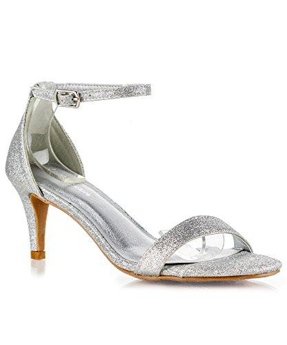 RF ROOM OF FASHION Fashion D'Orsay Ankle Strap Kitten Heel Dress Sandal - Essential Mid Heel Open Toe Vegan Pumps - Silver Glitter (6.5)