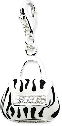 ICE CARATS 925 Sterling Silver Click On Cubic Zirconia Cz Enamel Zebra Purse Pendant Charm Necklace