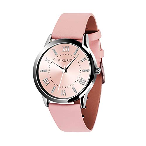AIKURIO Women Ladies Wrist Watch Waterproof Quartz Watch with Crystal Dial Clock Leather for Female Luxury Fashion Business Classic (Pink) ()