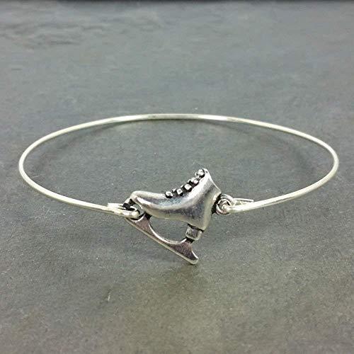 Ice Skate Charm Bangle Bracelet - Sterling Silver Filled, 8