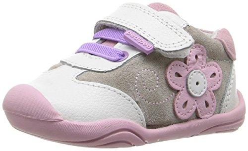 pediped Girls' Claudia Sneaker, White/Pink, 19 EU(4-4.5 E US Toddler)