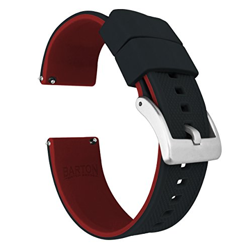 Barton Elite Silicone Watch Bands - Quick Release - Choose Strap Color & Width - Black/Crimson Red -