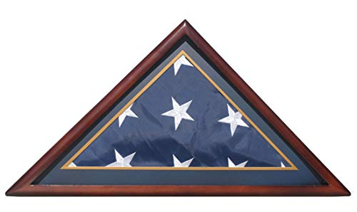 Memorial/Burial Flag Display Case Stand Holder for 5'X9.5' flag, with Decorative Framing Mat (With Marine Dark Blue Mat)