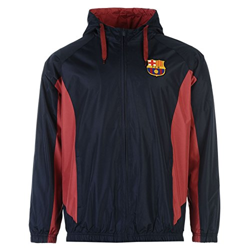 Source Lab Herren Barcelona Shower Jacke Langarm Kapuze Mantel Top Fussball Blau Large