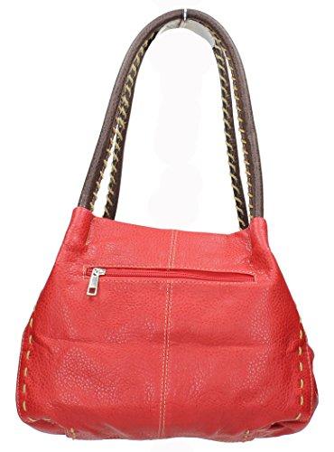 SwankySwans Damen Handtasche, Kunstleder, mit Knopf, Rot