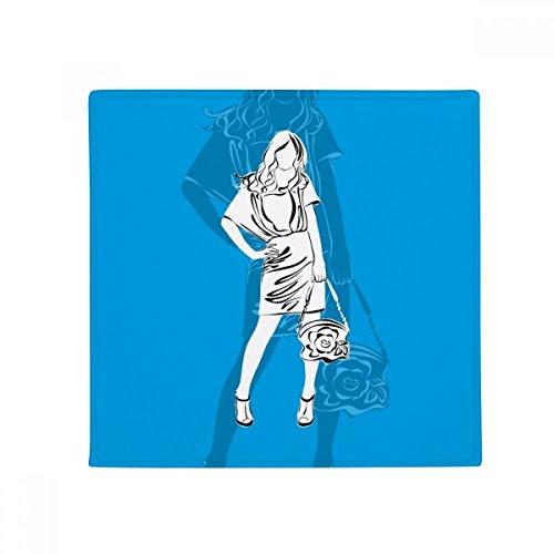 Blue Fashion Beautiful Woman Anti-slip Floor Pet Mat Square Home Kitchen Door 80cm Gift by DIYthinker