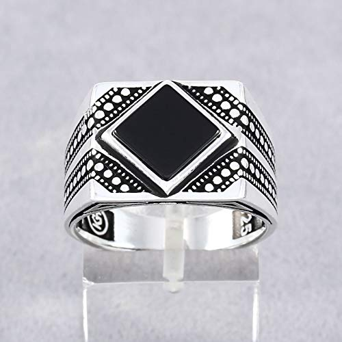 Silver Handmade Men's Ring with Black Onyx in 925 Sterling Size 8 Baklava Patterned Design Turkish Handcraft Mens Rings