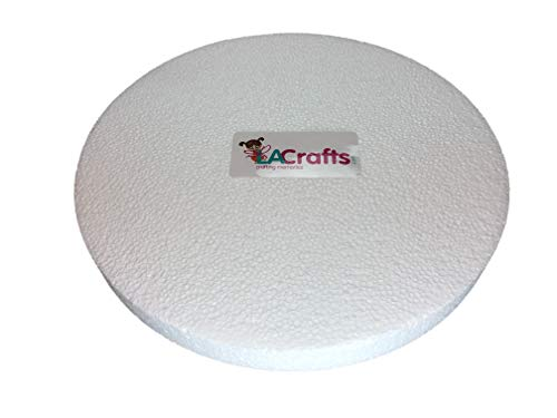 LA Crafts Brand 10x1 Inch Smooth Foam Craft Disc - Glitter Disc