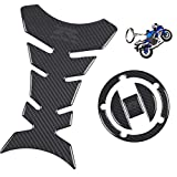 REVSOSTAR Real Carbon Look Gas Cap, Fuel Cap Decal, Tank Pad Decal Stickers,Tank Pad Protector, Grey Logo with Keychain for GSXR 600 GSXR 750 GSXR 1000 K6 K7 K8 K9 L1 2006-2017, 3Pcs Per Set