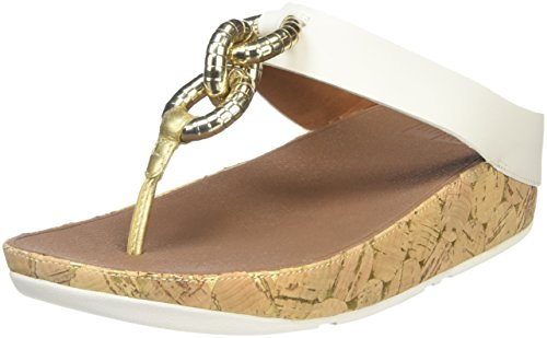 Fitflop Superchain Leather Toe-post - Sandalias Mujer Off-White (Urban White)