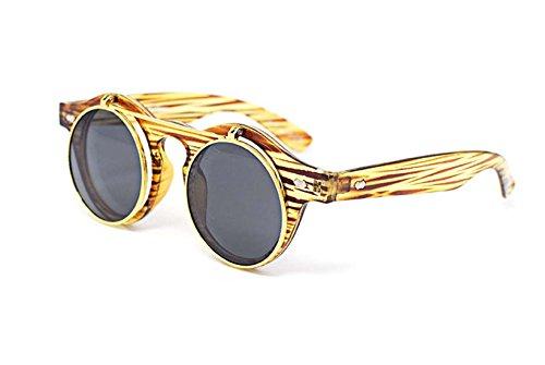 madera Retro UV400 círculo de de gafas de Cyber gafas calidad sol Ultra Efecto gafas Steampunk alta redondas 1xFdqq0a