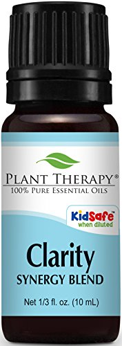 Plant Therapy Clarity Synergy Essential Oil Blend. 100% Pure, Undiluted, Therapeutic Grade. Blend of: Bergamot, Basil, Lemon and Grapefruit. 10 ml (1/3 oz).
