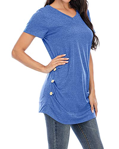 CIZITZZ Women\'s Short Sleeve V Neck T Shirts Tunic Tops Loose Fit Blue XXL