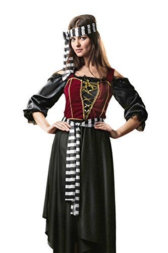 Sexy Adult Princess Of Thieves Costumes - Adult Women Pirate Princess of the Seas Costume Girl Role Play Buccaneer Dress Up (Small/Medium, Black, Maroon Red, Gold, White)