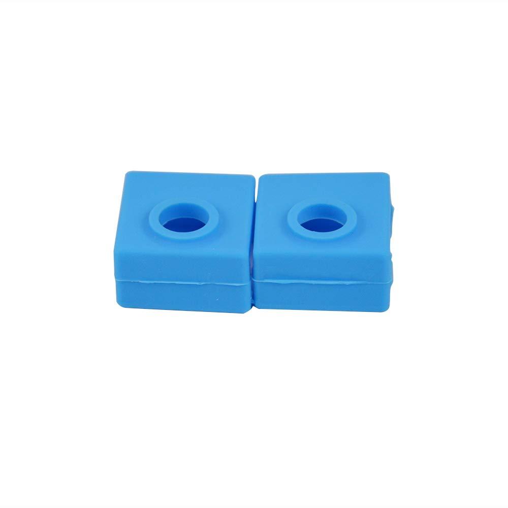 ANET A8 S4 Ender 3 SOOWAY Impresora 3D Bloque de cubierta de silicona MK7 // MK8 // MK9 Hotend Compatible con Creality CR-10,10S S5 5 x azul