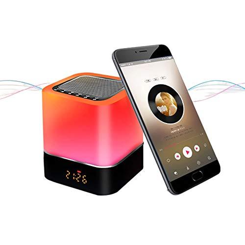 Luces nocturnas Altavoz Bluetooth, Despertador Altavoz Bluetooth Sensor tactil Lampara de cabecera Lampara de mesa LED RGB multicolor regulable, Llamada manos libres, Carga USB, Soporte para SD/AUX