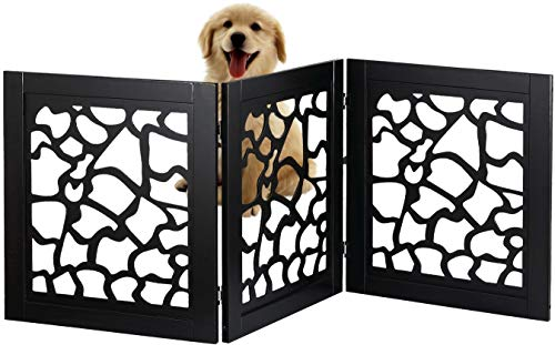 Bundaloo Pet Gate | Expandable & Folding Wood Fence for Dogs & Cats with Three Panels for Blocking Doors, Stairs, Steps | Freestanding Safety Enclosure for Home & Indoor (Black, Giraffe Print)