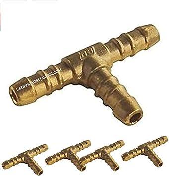 5 x Derivación Butano Propano en T Manguera Gas 9 mm Butano, Latón, Cocina, Camping Gas, Agua