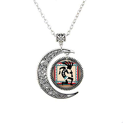 Glass Tile Moon Necklace Native American Jewelry Southwestern Jewelry Kokopelli Jewelry Kokopelli Moon Necklace Glass Tile Jewelry Black Jewelry