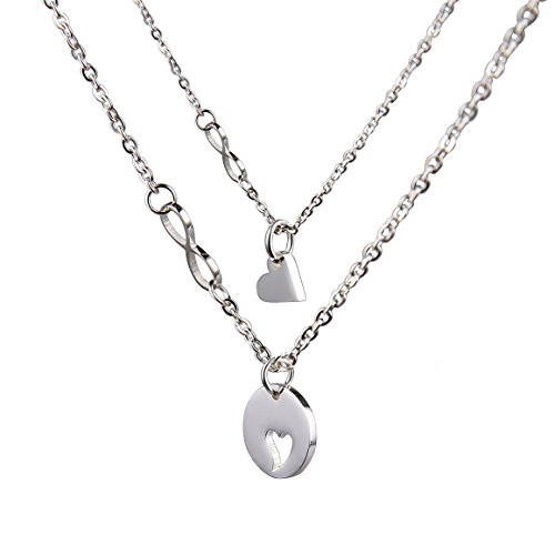 O.RIYA Mother's Day Necklaces Set , Round Design with Heart Pendant (White)