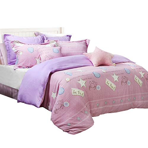 TEALP Dorm Room Bedding Seashell Duvet Covers Soft Washed Cotton Girls Bedding Sets from TEALP