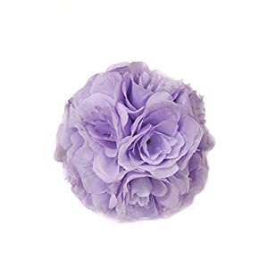 Ben Collection Fabric Artificial Flowers Silk Rose Pomander Wedding Party Home Decoration Kissing Ball Trendy Color Simulation Flower (Lavender, 20cm) 106