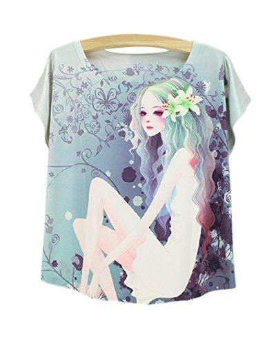 camiseta Camiseta con verano para de y mujer chaleco de cuello manga de Top corta Acvip redondo wIITpxq4