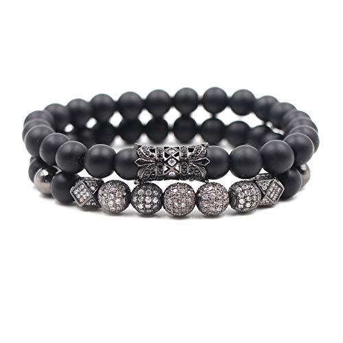 SEVENSTONE 2PCS Black Matte Onyx Prayer Beads Bracelet for Men Women Elastic Natural Stone (Black Stretch Matte)