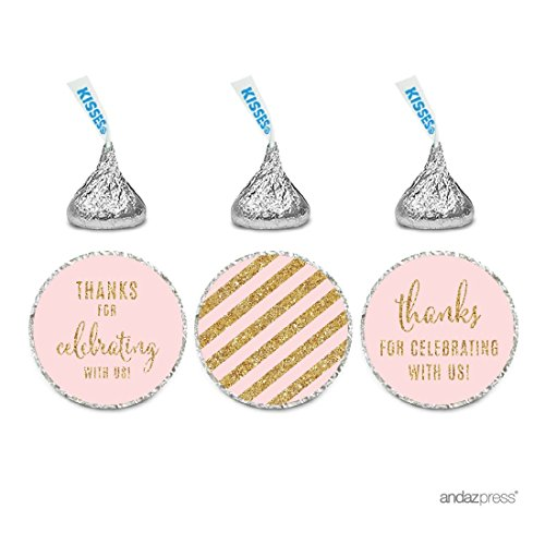 Andaz Press Gold Glitter Print Chocolate Drop Labels Stickers, Thanks for Celebrating With Us Striped, Blush Pink, 216-Pack, Not Real Glitter, For Hershey's Kisses Party Favors ()