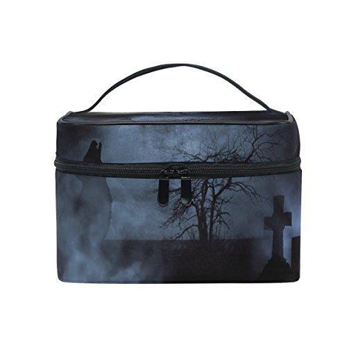 Cosmetic Case Bag Halloween Night Moon Wolf Tree Portable Travel Makeup Bag Toiletry (Halloween Wolf Makeup Ideas)