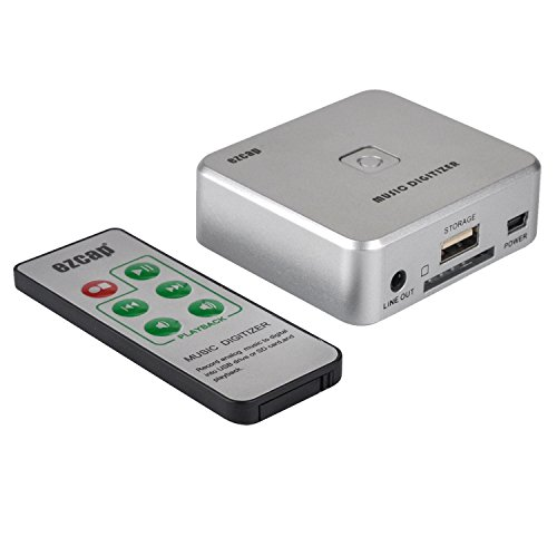 Audio Capture Recorder with 3.5mm & RCA IN Ports, Remote Controlled Music Digitizer Record Any Audio as MP3 File