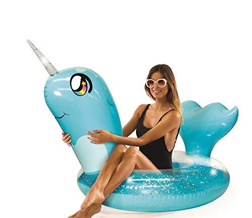 Poolcandy Inflatable Glitter Animal Collection Narwhal - Jumbo Pool Float | Swim Ring - Measuring 56